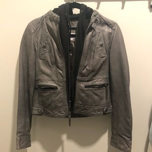 Andrew Marc gray leather jacket